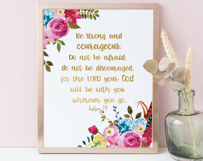 Bible Verse Wall Art Baptism Gift Sign Joshua 1 9 Scripture Wall Art Sister Inspirational Office Decor Baby Shower Gift Christian Be Strong
