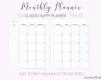 Monthly Planner Printable Made to fit Classic Happy Planner Inserts, MO2P