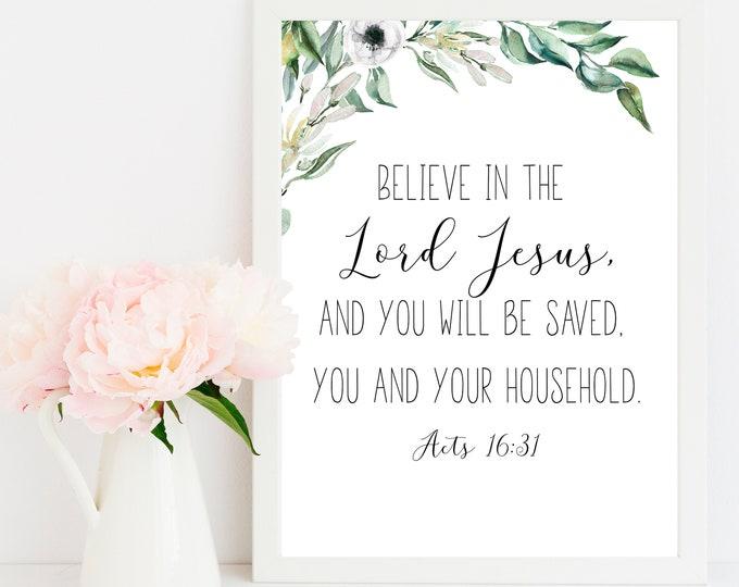 Bible Verse Prints, Acts 16 31, Believe in the Lord Jesus, Olive Wreath, Scripture Prints botanical print vintage OL-1