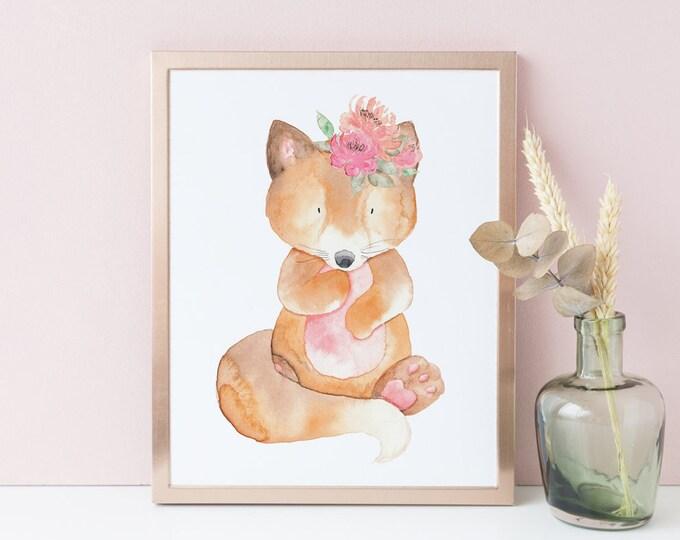 Nursery Wall Art, Baby Fox Printable, Woodland Animals,