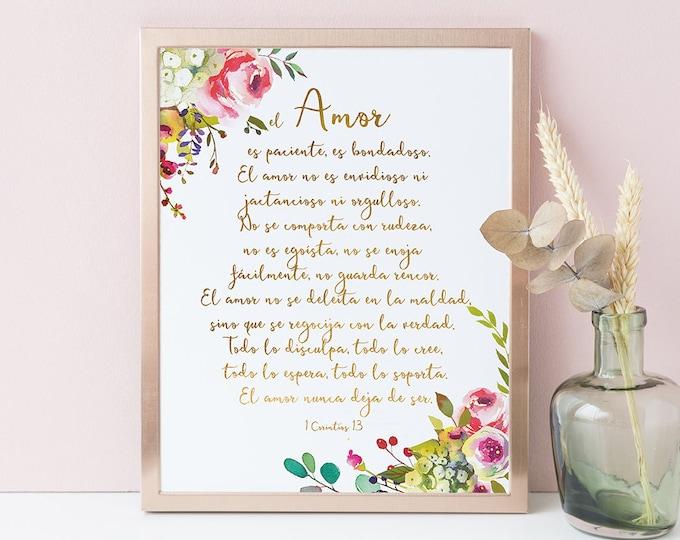 1 corinthians 13 sign, Love is Kind, Bible Verse Print, Spanish Wall Art SH-1