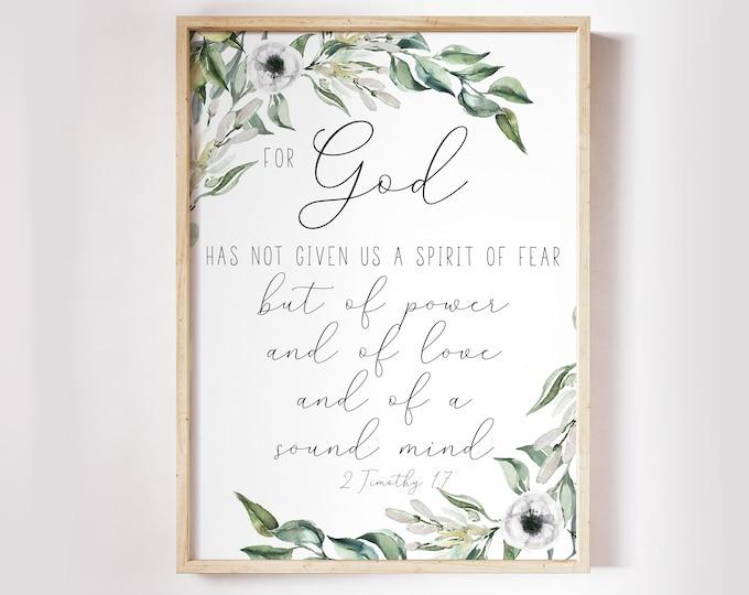 2 Timothy 1 7, Christian Wall art, Bible Verse Prints,  Scripture Prints, Botanical Prints OL-1