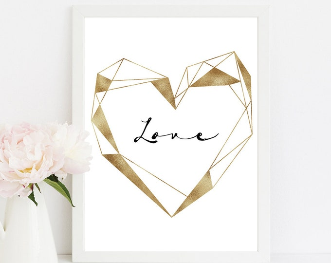 Copper Wall Art Geometric Wall Art Wedding Decor Boyfriend Gift Bedroom Decor Scandinavian Print Printable Art Print Minimalist Print LOVE