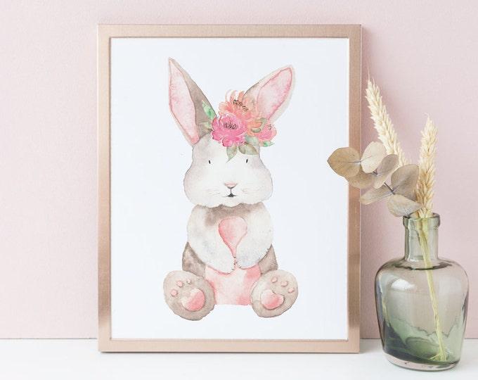 Animal print Nursery wall art Baby Shower Gift Bunny painting Rabbit Woodland nursery Woodland baby shower Printable wall art Kids Art Print