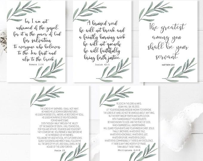 Bible Verse Cards, Bible Journaling Kit Printable, Bible Verse Prints, Olive Wreath 4 OL-1