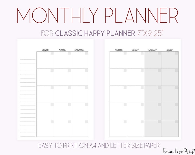 Monthly Planner, Month On Two Pages, Happy Planner Inserts Printable