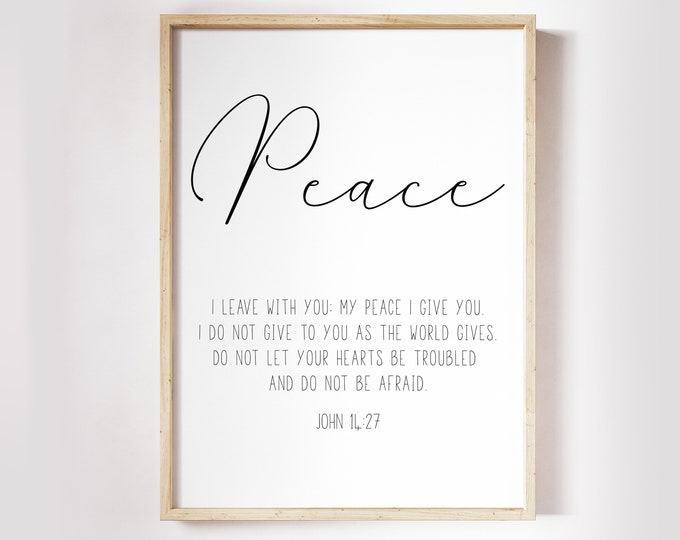 Bible Verse Prints, John 14 27, Peace I leave with you, Scripture Prints Minimalist print vintage OL-1
