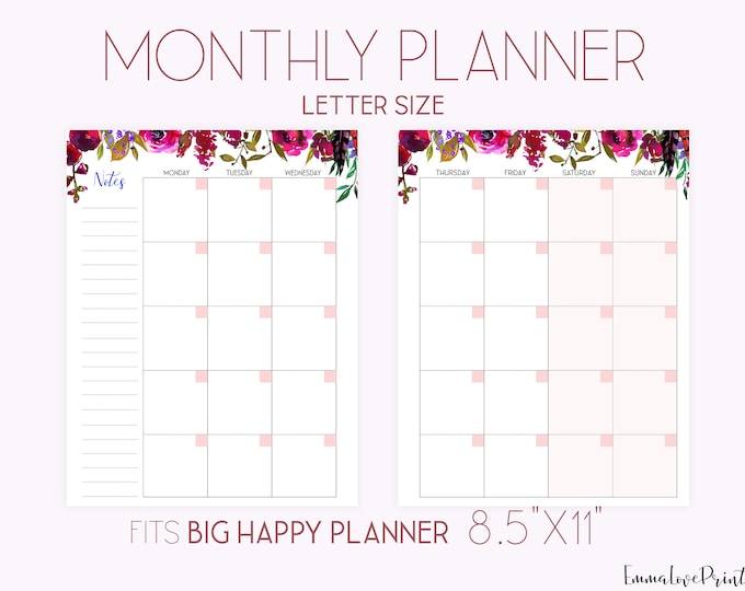 Monthly Planner Pages, Mo2P Big Happy Planner Inserts Printable