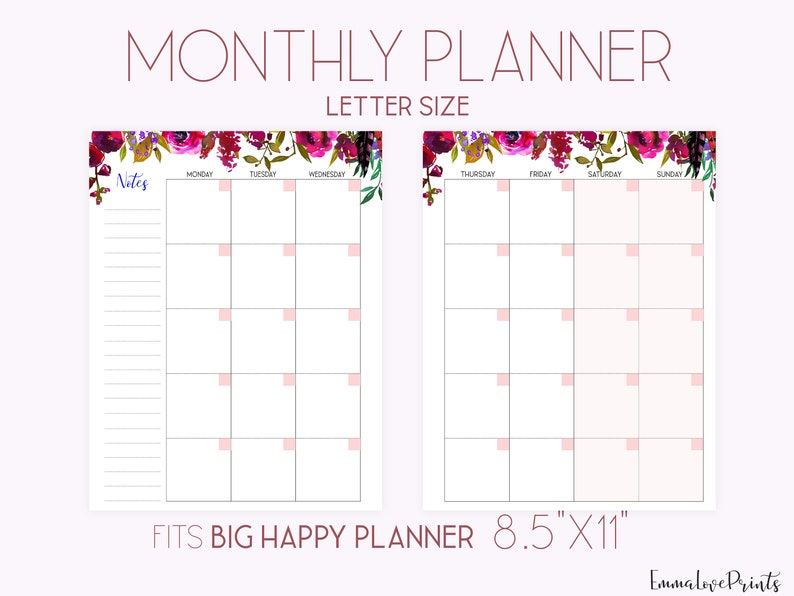 Monthly Planner Pages Mo2P Big Happy Planner Inserts image 0