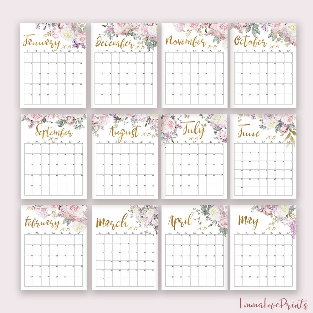 2019 Calendar 2019 Printable Wall Calendar Desk Organizer Monday