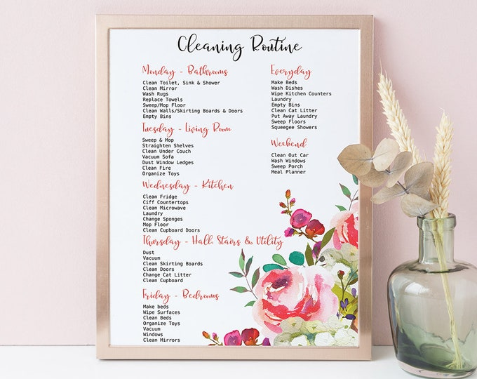 Cleaning Planner Printable Cleaning Schedule Family Planner Pink Planner Pages, Cleaning Checklist, Household Planner, Instant Download