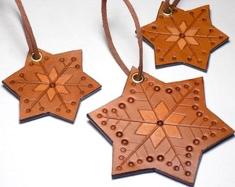 ec2121ec85487 Leather Snowflake Ornaments Set of 3