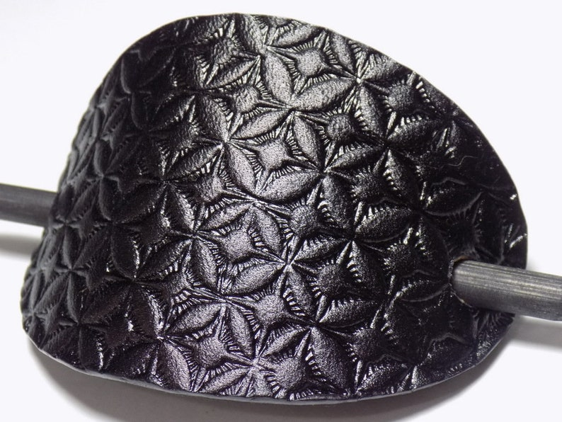 Geometric Leather Barrette Black Tooled Leather Oval Hair Slide Wooden Hair Stick