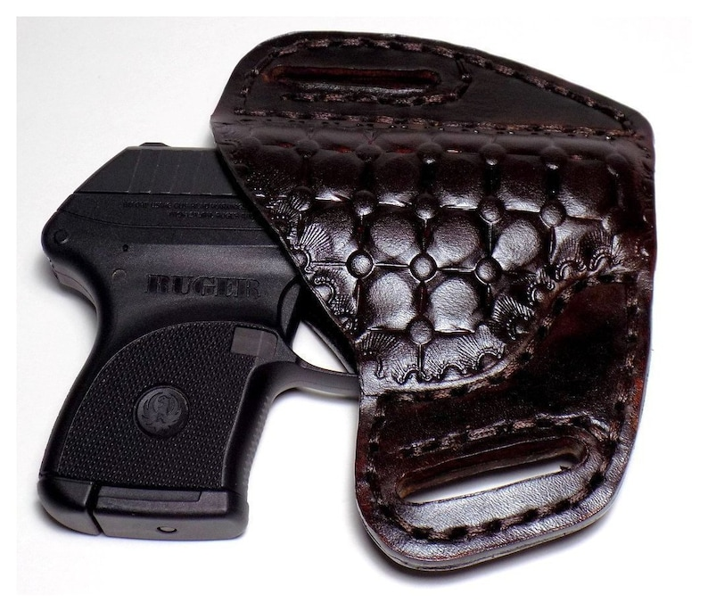 Ruger LCP Leather Holster, Kel-Tec P-3AT, Open Carry OWB Canted Pancake  Holster, Quilted Design, Right or Left Handed