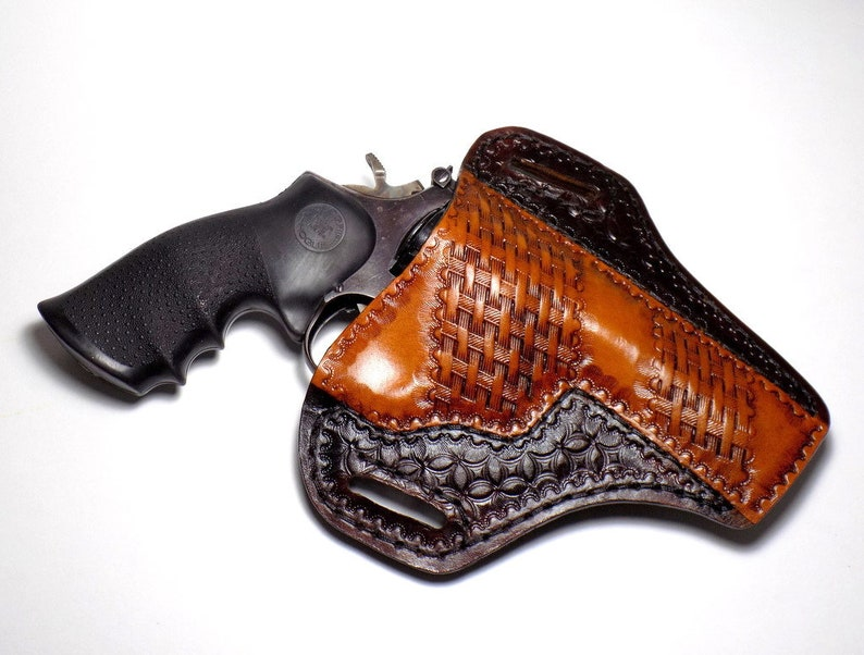 Smith & Wesson K Frame Revolver Holster, Open Carry OWB Tooled Leather  Pancake Holster, Brown Basketweave, Right or Left Handed