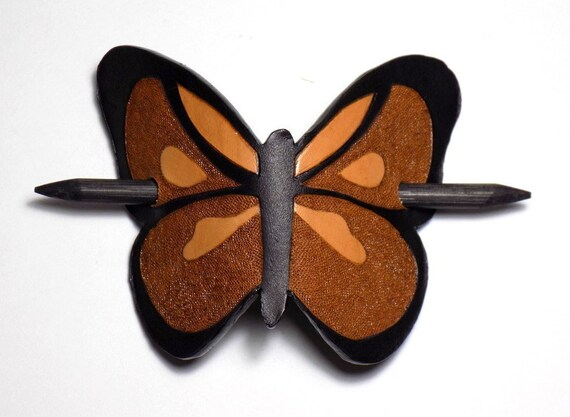 Holographic Butterfly Hair Slide Stick Barrett Vegan Leather Accessories for Long Hair