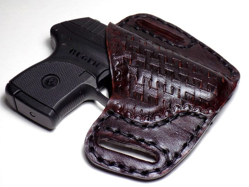 Ruger LCP Leather Holster, Kel-Tec P-3AT, Open Carry Tooled Basketweave OWB  Canted Pancake Holster, Right Handed, Ready to Ship