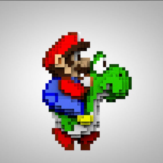 Mario Yoshi Pixelart Super Nintendo Snes Toyart Artoy Pixel Designertoy