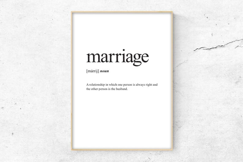 Marriage Definition Print Definition Poster Word Meaning ...