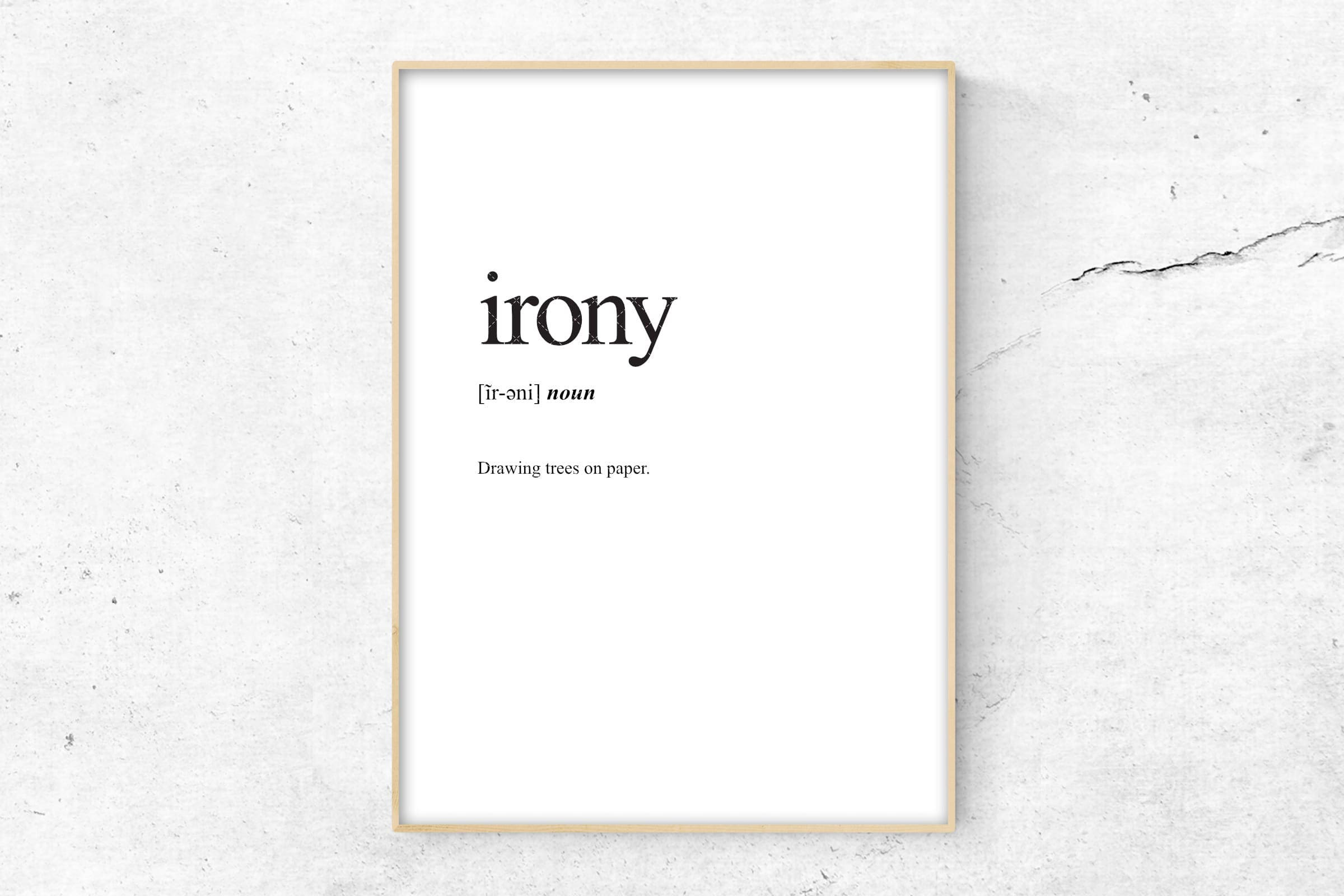 Fenetre En Bandeau Definition irony definition print, definition poster, word meaning print, word  definition art, funny wall art print, dictionary meaning