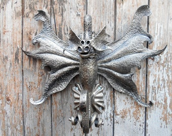 Knocker DRAGON Knocker Door Forged Iron Metal Art