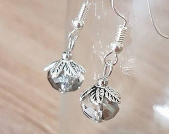 Silver faceted earrings