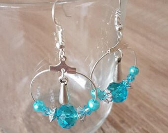 Fancy turquoise hoop earrings