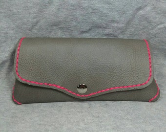 Leather Glasses case hand made with soft beige leather lining.