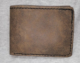Genuine leather bifold wallet brown leather with black calfskin interior has 6 card pockets plus long bill pocket and black thread hand made