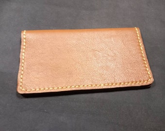 Genuine Leather Checkbook cover hand made Brown leather with black suede calf skin lining hand sewed biege poly thread.