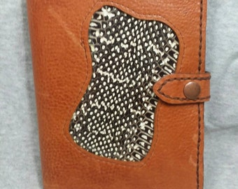 Genuine Leather and snake skin journal holds 4x6 pad with snap closure.