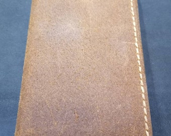 Genuine leather 3x5 Notepad cover with pad. And business card slot rustic brown leather split with beige thread hand made and hand stitched.