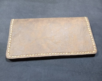 Genuine leather Check book cover really nice dark and light brown leather with black suede lining and beige thread that is all hand stitched