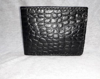 Genuine leather Bifold wallet Black alligator embossed leather with black calfskin interior and black thread hand made and hand stitched.