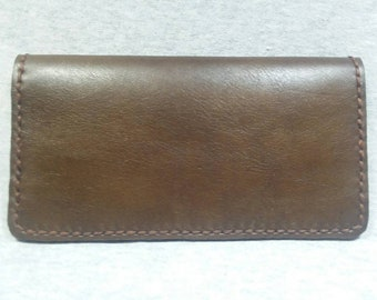 Checkbook cover Genuine Brown Leather. Hand made, hand stitched, made in the USA Stanley N.C