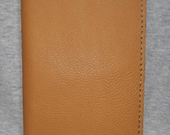 Hand made Genuine leather 4x6 notepad cover nice brown textured leather with beige thread all hand made and hand stitched made in N.C. USA.