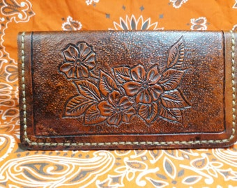 Genuine Leather Checkbook cover hand tooled.