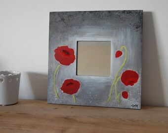 Deco mirror with poppy Red