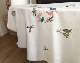 White Oval Linen Tablecloth/Embroidered By Humming Bird/Linen Cotton  TableCloth