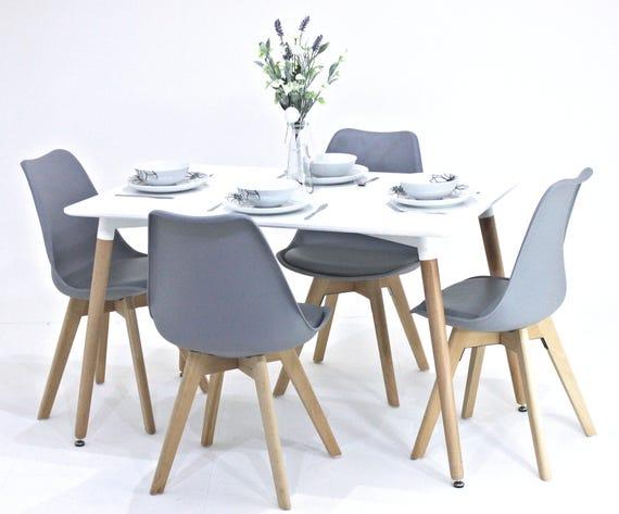 Mesa de comedor Lorenzo y 4 sillas Juego Sillas modernas retro | Etsy