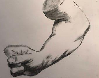 Flexed forearm of a man, Bargue plate I/19