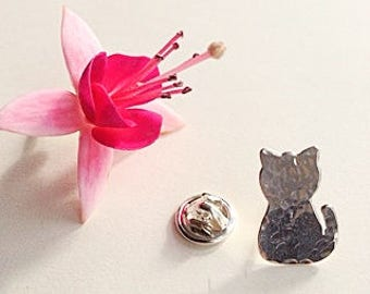 Sterling Silver Cat pin/ tie tack/ lapel pin/ brooch