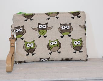 Linen and cotton clutch bag with owls-handmade-leather wrist strap-gift for her-wrist clutch