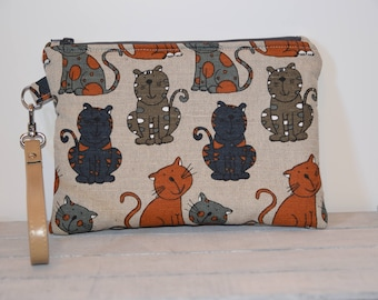 Linen and cotton clutch bag with cats-handmade-leather wrist strap-gift for her-wrist bag