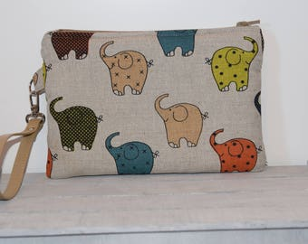 Linen and cotton clutch bag with elephants-handmade-leather wrist strap-gift for her-wrist clutch