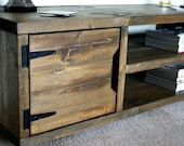KRUD Dark Oak 120cm - Retro TV Stand Handmade Solid Wood Scaffold Style 24 Colours Industrial Chunky Rustic Country TV Stand Cabinet