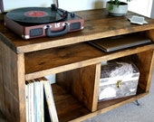 Record Player Stand Vinyl Record Storage Turntable Stand Scaffold Furniture Rustic TV Stand Tv Cabinet Retro tv stand KRUD-36