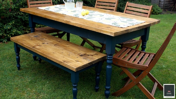 Farmhouse Dining Table Set | Bench | Kitchen Table | Farmhouse Furniture |  Farmhouse Table | Farrow & Ball Paint | Rustic Table | KRUD-47