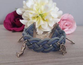 """Bracelet """"Two-tone suede""""Bracelet""""Braid"""" dual color"""