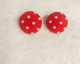 Red and white polka dot fabric button earrings...studs...